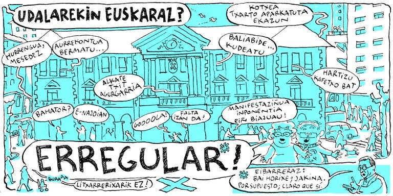 """Eibarko Udalak """"Eibarko Udalarekin euskaraz? Erregular!"""" kanpaina dendari eta tabernarien artean zabalduko du oraingoan"""