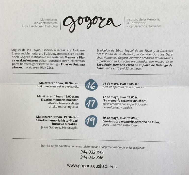 """""""Memoriaren Plaza"""" ekimen ibiltaria Eibarrera iritsiko da"""
