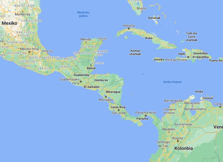 Erdialdeko Amerikako maparen irudia.
