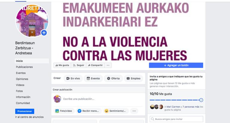 """""""Berdintasun Zerbitzua - Andretxea"""" Facebookeko orrialde ofizial berriaren irudia."""