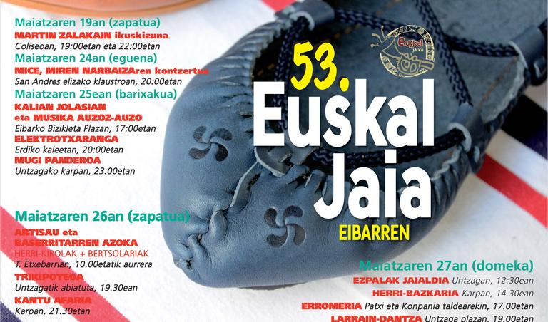 Euskal Jaia 1965az geroztik Eibarren: ekitaldi-zaparrada maiatzaren 19tik 27ra