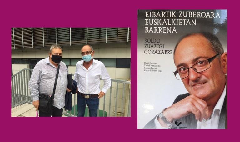Koldo Zuazo, omendua; Patxi Lejardi , zinegotzia eta liburuaren azala