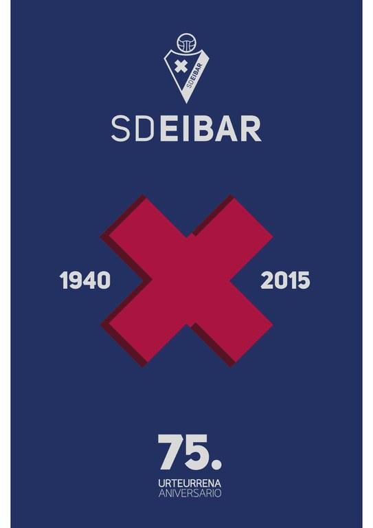 """SD EIBAR Fundazioak kaleratutako """"SD EIBAR 75. urteurrena / 75º Aniversario - 1940 X 2015"""" liburua kalean dago, historia eta foballa biltzen."""